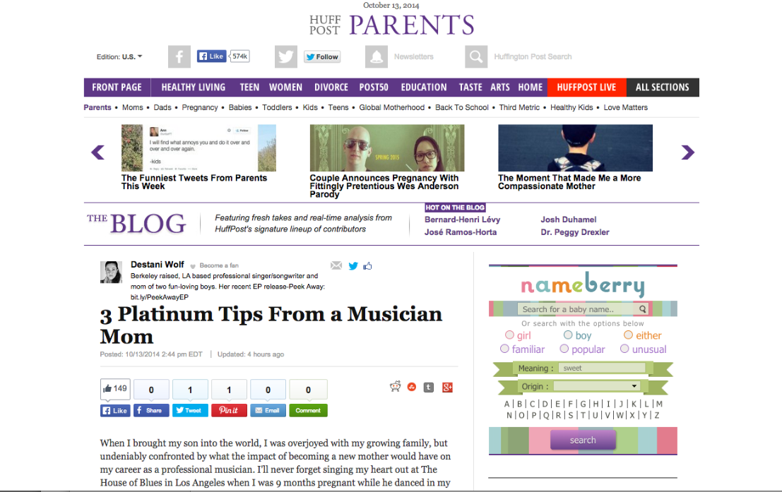"""The Huffington Post published my Blog! """"3 Platinum Tips From"""